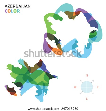 Abstract vector color map of Azerbaijan with transparent paint effect. For colorful presentation isolated on white. - stock vector
