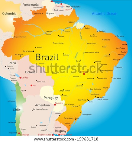 Abstract vector color map of Brazil country - stock vector