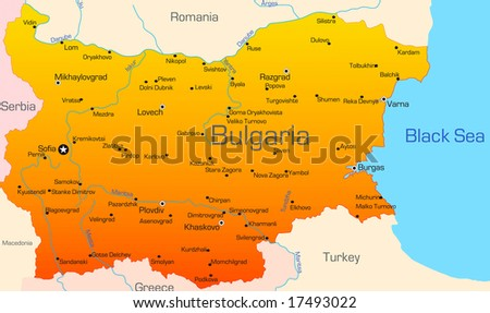 Abstract vector color map of Bulgaria country - stock vector