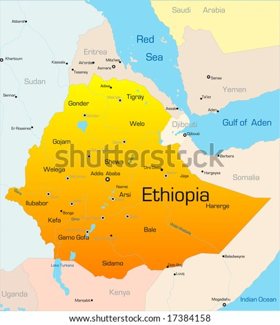 Abstract vector color map of Ethiopia country - stock vector
