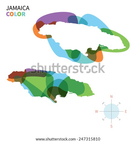 Abstract vector color map of Jamaica with transparent paint effect. For colorful presentation isolated on white. - stock vector
