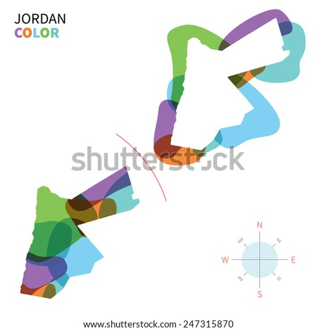 Abstract vector color map of Jordan with transparent paint effect. For colorful presentation isolated on white. - stock vector
