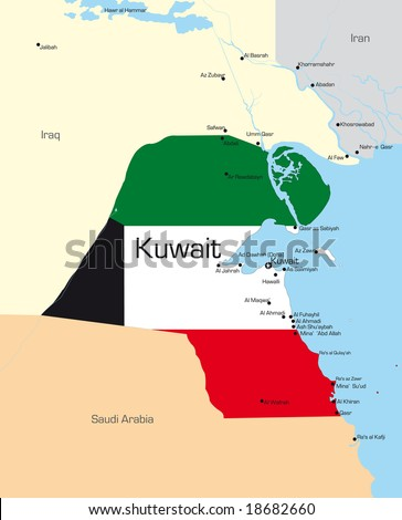 Abstract vector color map of Kuwait country colored by national flag