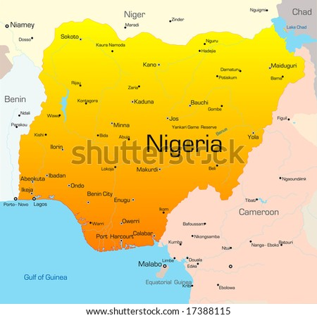 Abstract vector color map of Nigeria country