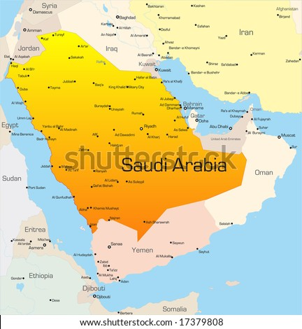 Abstract vector color map of Saudi Arabia country - stock vector