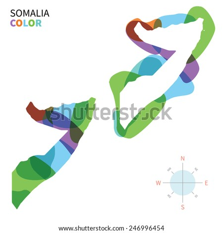 Abstract vector color map of Somalia with transparent paint effect. For colorful presentation isolated on white. - stock vector