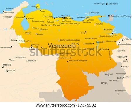 Abstract vector color map of Venezuela country - stock vector