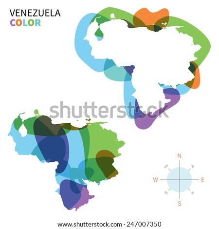 Abstract vector color map of Venezuela with transparent paint effect. For colorful presentation isolated on white. - stock vector