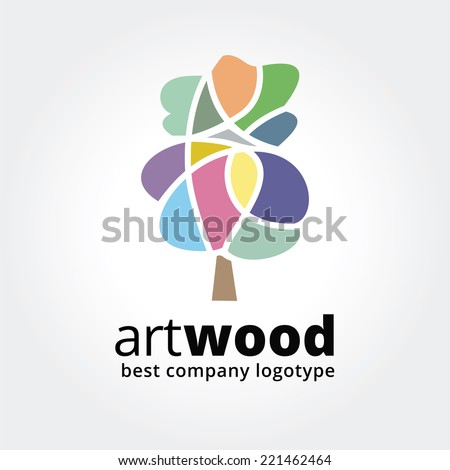 Abstract vector colored tree logotype concept isolated on white background. Key ideas is spa, beauty, design, nature, creative, health. Good for corporate identity and branding - stock vector