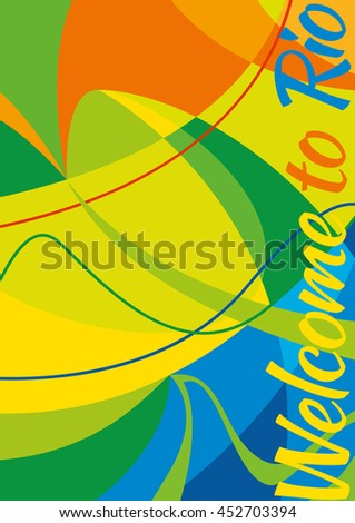 Abstract Vector Colorful Greeting Card Background. Welcome To Rio, Brasil - stock vector