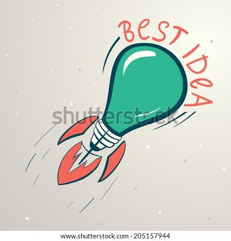 Abstract vector colorful illustration of lightbulb. Idea symbol - stock vector