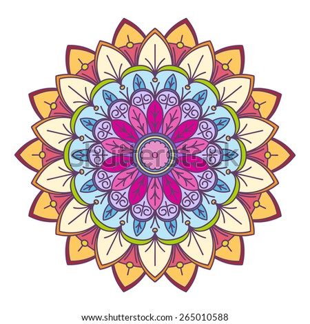 Abstract vector colorful round lace design in mono line style - mandala, decorative element - stock vector