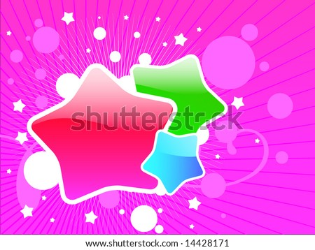 Abstract vector composition with red, green and blue stars and pink background - stock vector