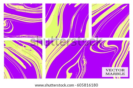 Abstract vector creative card templates. Weddings, menu, invitations, birthday, business cards with marble texture in purple and yellow colors.