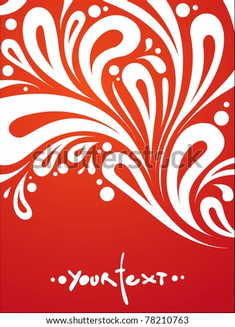 abstract vector curls background on red - stock vector