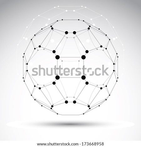 Abstract vector 3D geometric mesh object, clear eps 8. - stock vector