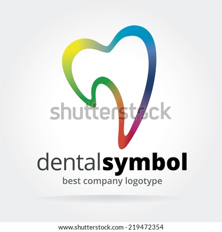 Abstract vector dantist tooth logotype isolated on white background - stock vector