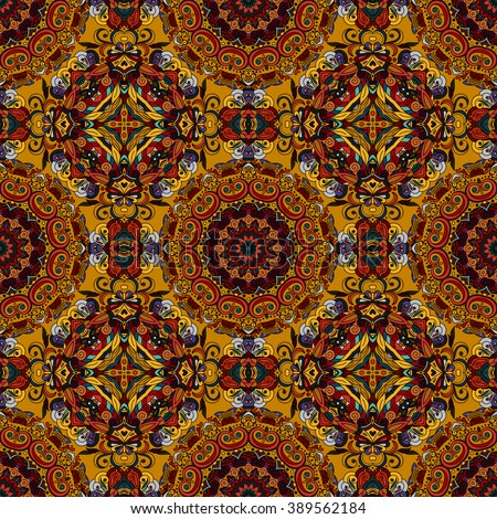 Abstract vector decorative ethnic floral colorful seamless pattern. Brown tone.