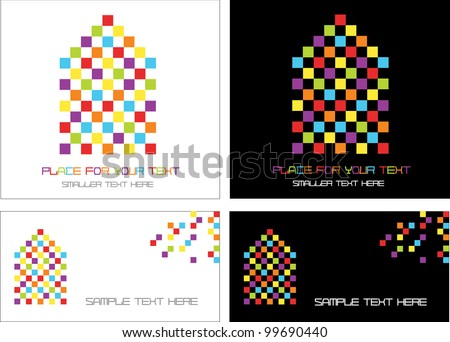 abstract vector design and visiting cards with funny checkered houses with place for your text isolated on white and black background - stock vector