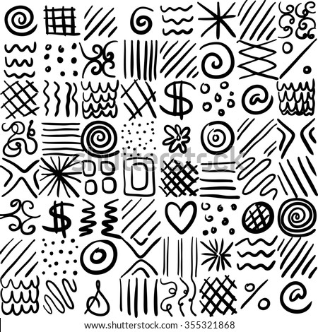 abstract vector design, can be repeated pattern, can be placed on any color, fun artsy design with shapes and doodles in abstract patterned squares or tiles - stock vector