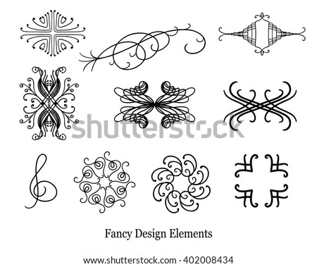 abstract vector design elements, set of beautiful fancy curls and swirls paragraph or text divider, underline design, symmetrical lines. Wedding design elements. Vector can go on any color.  - stock vector