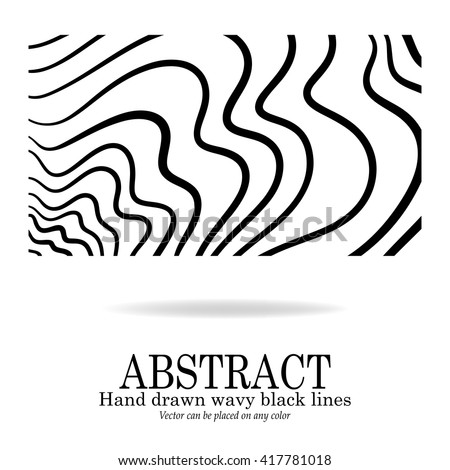 abstract vector design, hand drawn wavy lines in modern abstract art background doodle, black ink marker stripes in random waves pattern for graphic art designs - stock vector