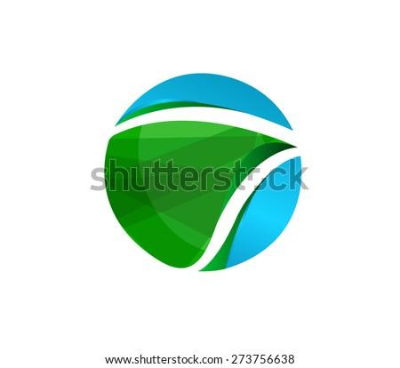 Abstract Vector design Logo,icon Green Earth of  3d  shapes.  - stock vector