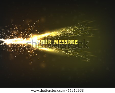 Abstract vector design of a bright energy wave colliding with text, resulting in explosion with sparkles and particles. - stock vector