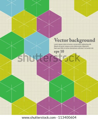 abstract vector design, retro cubes pattern eps10 - stock vector