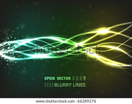 Abstract vector design with blurry lines, particles and bright lights on dark background. - stock vector