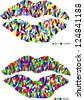 abstract vector design with pop art lips in print and monitor colors isolated on white background - stock photo