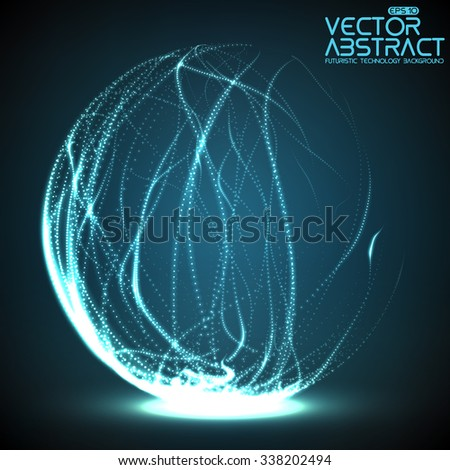 Abstract vector destroyed mesh spheres. Sphere breaking apart into points. Futuristic technology style. Flying point debrises. Elegant background for business presentations. eps10 - stock vector
