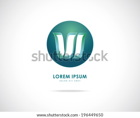 Abstract Vector Emblem Design Template. Creative Green Round Concept Icon. Combination of Letter W - stock vector