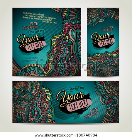 Abstract vector ethnic backgrounds set. Series of image. Template frame design for card. Three different sizes for your design - stock vector