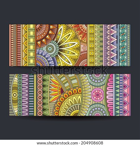 Abstract vector ethnic pattern cards set - stock vector