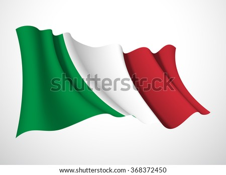 Abstract vector festive banner with beautiful fluttering in the wind Italian Republic flag isolated on a white background - stock vector