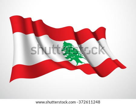 Abstract vector festive banner with beautiful fluttering in the wind Lebanese Republic flag isolated on a white background - stock vector