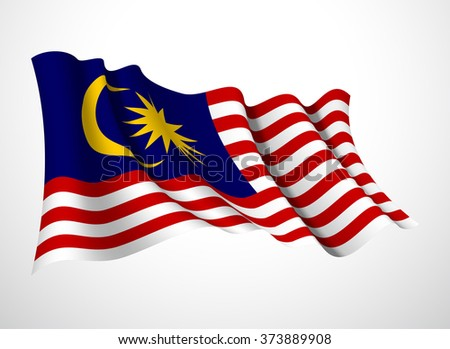 Abstract vector festive banner with beautiful fluttering in the wind Malaysia flag isolated on a white background - stock vector