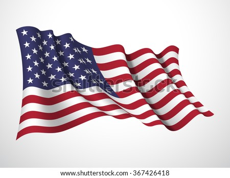 Abstract vector festive banner with beautiful fluttering in the wind United States of America flag isolated on a white background - stock vector