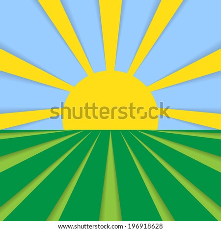 Abstract vector flat background cornfield and sun in blue sky. Sun and field. Healthy eating symbol for your design. Rural landscape with fields and sun. - stock vector