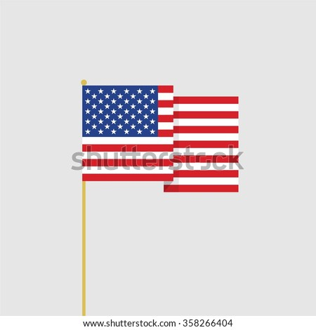 Abstract vector flat design USA flag icon