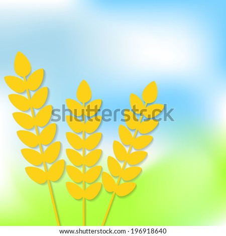 Abstract vector flat wheat ears on summer nature background. Healthy eating symbol with space for your text. Vector illustration for your design. - stock vector