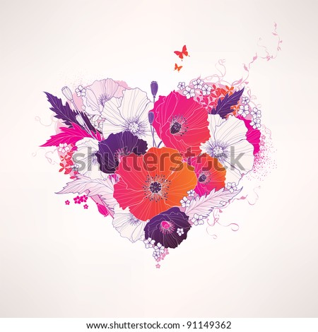 Abstract vector floral heart - stock vector