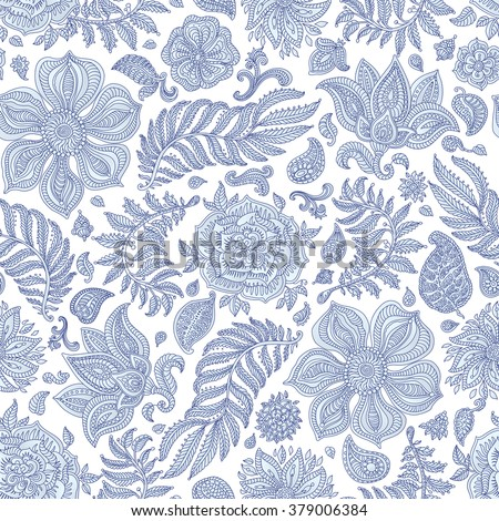 Abstract vector floral seamless pattern. Exotic silver grey Paisley elements, fantastic flower, leaves. Indigo blue thin contour line. White background. Textile bohemian print. Batik painting.Vintage - stock vector