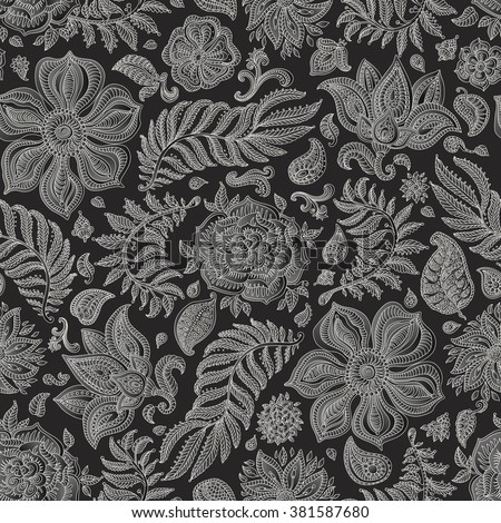 Abstract vector floral seamless pattern. Exotic silver grey Paisley elements, fantastic flower, leaves. Light beige thin contour line. Black background. Textile bohemian print. Batik painting.Vintage - stock vector