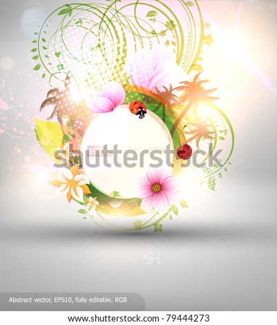 Abstract vector floral summer background with flowers, sun, ladybird, cherry and palms. eps10.