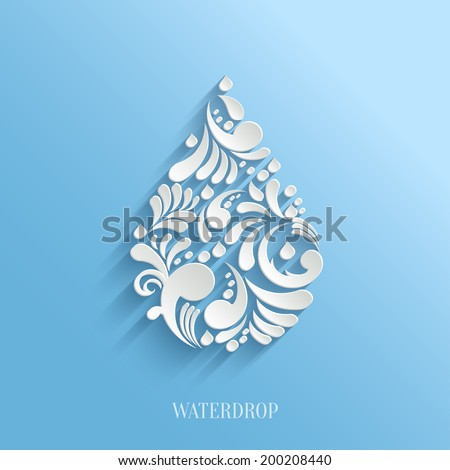 Abstract  Vector Floral Water Drop on Blue Background.  Eco Concept. - stock vector