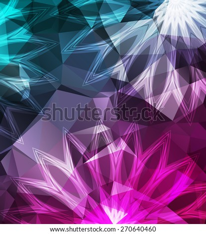 Abstract vector flower on a triangular background - stock vector