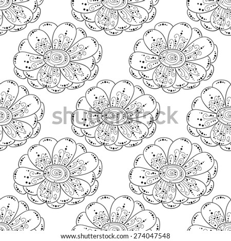 Abstract vector flower seamless pattern. Black and white background.