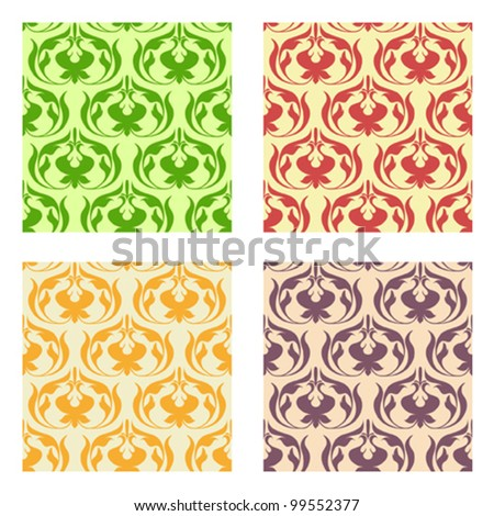 Abstract vector flowers pattern. Vector illustration.